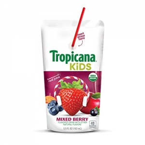 ihocon: Tropicana Kids Organic Juice Drink Pouch, Mixed Berry, 5.5 Ounce, 32 Count 有機果汁