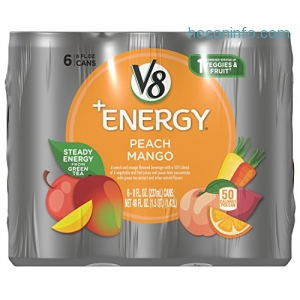 ihocon: V8 +Energy, Peach Mango, 8 Ounce, 6 Count (Pack of 4)