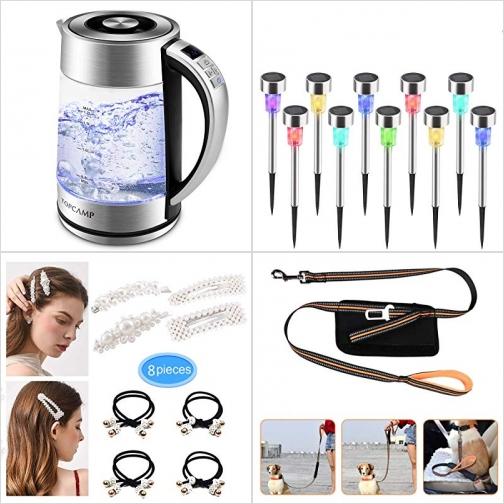 [Amazon折扣碼] 玻璃電熱水瓶, 太陽能LED彩色庭園燈, 女士髮夾及綁髮帶, 狗繩 額外折扣!