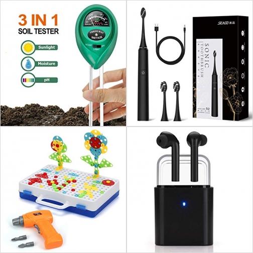 [Amazon折扣碼] 3合1土壤酸鹼度, 濕度, 光線檢測儀, 超音波電動牙刷, 手眼協調訓練玩具, 真無線耳機 額外折扣!