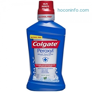 ihocon: Colgate Peroxyl Mouth Sore Rinse, Mild Mint - 500mL, 16.9 fluid ounces漱口水
