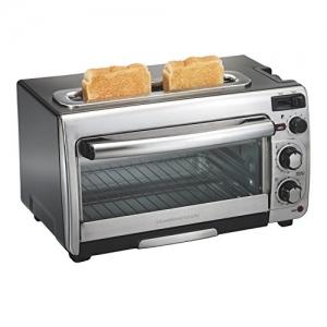ihocon: Hamilton Beach 2-in-1 Countertop Oven and 2-Slice Toaster, Stainless Steel (31156)小烤箱/烤麵包機