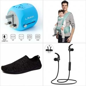 [Amazon折扣碼] 萬用旅行插座, 嬰兒背帶, 男士/女士 水鞋, 藍芽無線耳機 額外折扣!
