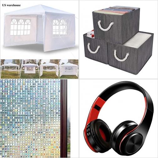 [Amazon折扣碼] 陽棚, 衣物收納箱, 窗戶隱私貼膜, 免膠水, 藍芽無線耳機 額外折扣!