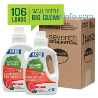 ihocon: Seventh Generation Natural 4X Concentrated Laundry Detergent Geranium Blossoms and Vanilla, 106 loads, 40 Fl Oz (Pack of 2)