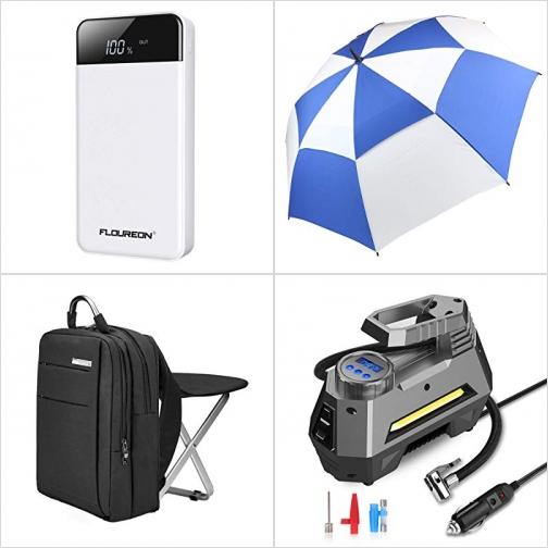 [Amazon折扣碼] 行動電源/充電寶, 高爾夫球大傘, 背包折疊椅, 電動打氣/量胎壓機 額外折扣!