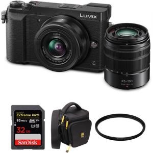 ihocon: Panasonic Lumix DMC-GX85 Mirrorless Micro Four Thirds Digital Camera with 12-32mm and 45-150mm Lenses and Accessories Kit (Black)