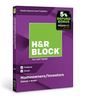 ihocon: H&R Block Tax Software Deluxe + State 2018 with 5% Refund Bonus Offer [PC/Mac Disc] 報稅軟體