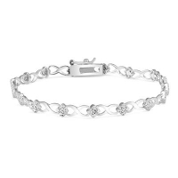 ihocon: HUGS AND KISSES DIAMOND BRACELET IN .925 STERLING SILVER 純銀鑽石手鍊