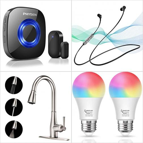 [Amazon折扣碼] 無線門鈴, 藍芽無線耳機, 廚房水龍頭, WiFi 彩色智能燈泡 額外折扣!