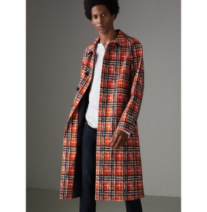 ihocon: Burberry Scribble Check Cotton Car Coat男士大衣