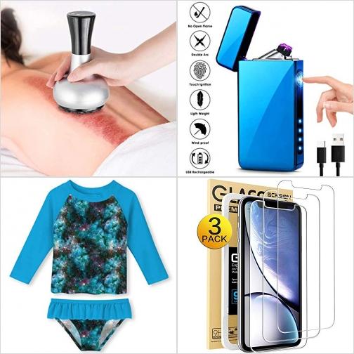 [Amazon折扣碼] 2合1 加熱刮砂/拔罐機, 充電式防風打火機, 女童2件式UPF50 防曬泳衣, iPhone XR 螢幕保護貼膜 額外折扣!