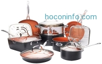 ihocon: Gotham Steel Ultimate 15 Piece All in One Chef's Kitchen Set with Non-Stick Ti-Cerama Copper Coating – Includes Skillets, Fry Pans, Stock Pots, Deep Square Pan with Fry Basket and Shallow Square Pan