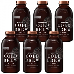 ihocon: Starbucks Cold Brew Coffee, Black Unsweetened, 11 oz Glass Bottles, 6 Count 星巴克冷泡無糖黑咖啡