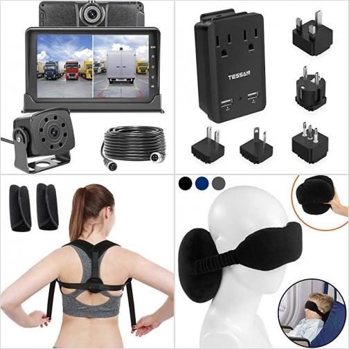 [Amazon折扣碼] 前後雙鏡頭行車記錄器,, 旅行萬用插座, 姿勢矯正帶, 兒童旅行眼罩枕 額外折扣!