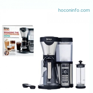 ihocon: Ninja Coffee Bar Coffee Bar w/Glass Carafe, Frother & 100 Recipe Cookbook CF080W咖啡機+奶泡器