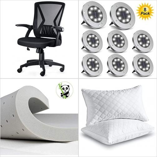 [Amazon折扣碼] 辦公椅/電腦椅, 太陽能LED庭園地燈, 記憶棉Mattress Topper, 枕頭 額外折扣!