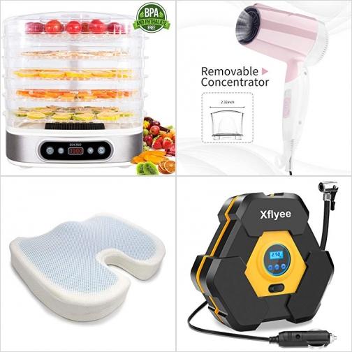[Amazon折扣碼] 食物乾燥機, 小型折疊吹風機, 凝膠記憶棉坐墊, 電動打氣, 測胎壓機 額外折扣!