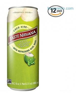 ihocon: Taste Nirvana Real Coco Aloe, Coconut Water with Refreshing Aloe Vera, 16.2 Ounce Cans (Pack of 12)