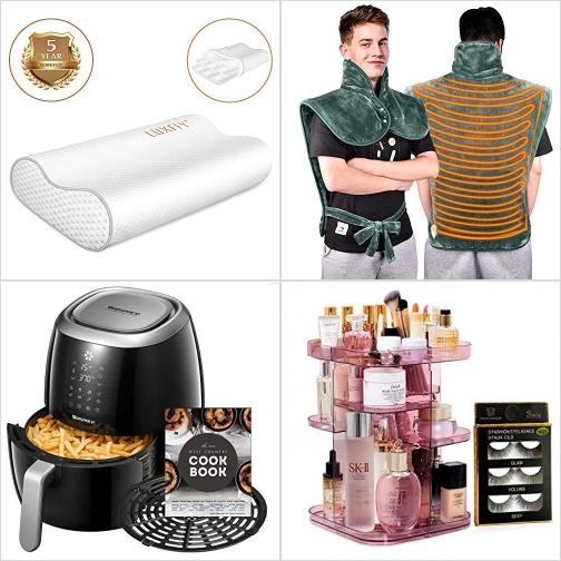 [Amazon折扣碼] 記憶棉枕頭, 肩頸背部電熱敷墊, 氣炸鍋, 旋轉化妝品收納架 額外折扣!