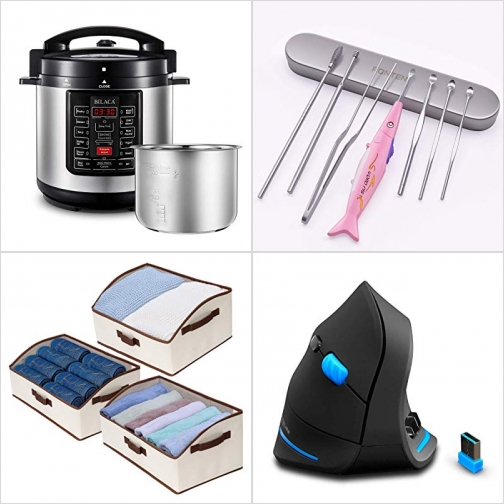 [Amazon折扣碼] 9合1 電壓力鍋, LED照明清耳垢器, 布質收納箱, 直立式滑鼠 額外折扣!