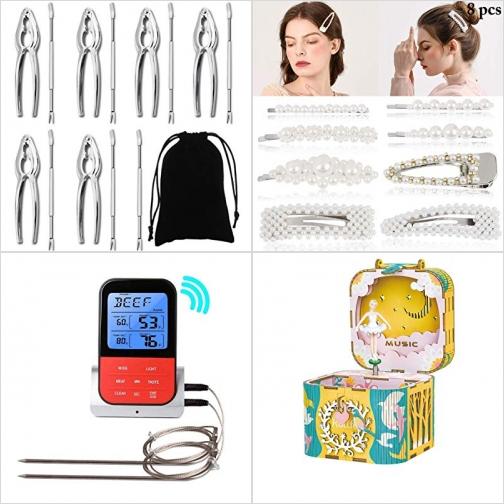 [Amazon折扣碼] 螃蟹, 龍蝦剝殼夾, 髮夾, BBQ無線温度計, 木製音樂盒 額外折扣!