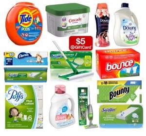 Target: Tide, Charmin, Bounty, Downy, Puffs, Swiffer, Cascade…居家用品.. 任買2件就送$5 Gift Card