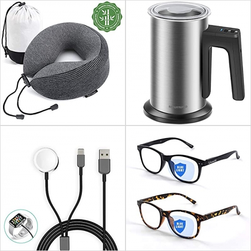 [Amazon折扣碼] 記憶棉旅行枕, 電動奶泡機, 2合1 iPhone / Apple Watch充電器, 抗藍光眼鏡 額外折扣!