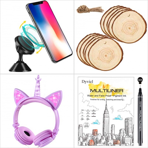 [Amazon折扣碼] 磁性汽車手機固定架, 木片, 兒童耳機, 由粗到細防水繪圖筆 額外折扣!