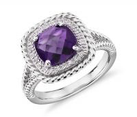 ihocon: Corda Cushion-Cut Amethyst Halo Ring純銀紫水晶戒指