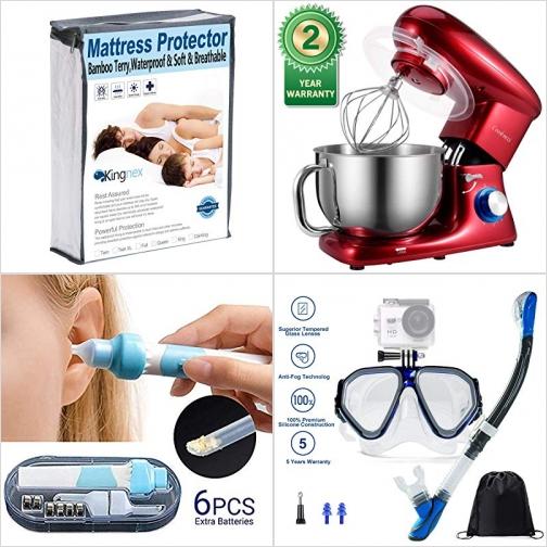 [Amazon折扣碼] 防水Mattress Protector, 六段速攪拌機, 電動耳垢清潔器, 浮潛面罩 額外折扣!