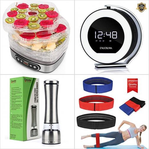 [Amazon折扣碼] 5層食物乾燥機, 藍芽Speaker, 電動胡椒/鹽研磨器, 運動健身帶 額外折扣!