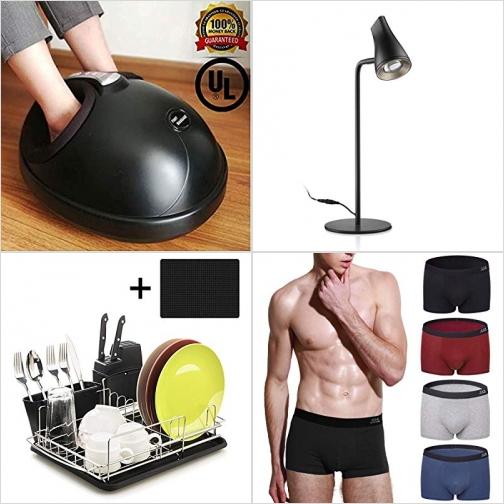 [Amazon折扣碼] 電熱腳部按摩機, LED桌燈, 碗盤瀝水架, 男士Boxer內褲 額外折扣!