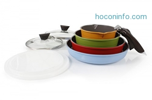 ihocon: 韓國Neoflam Midas 9-piece Ceramic Nonstick Cookware Set with Detachable Handle