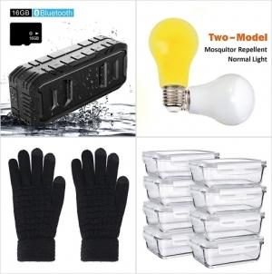 [Amazon折扣碼] 防水Bluetooth Speakers, 驅蚊/正常模式 2用燈泡, 男士觸控螢幕手套, 玻璃保鮮盒 額外折扣!