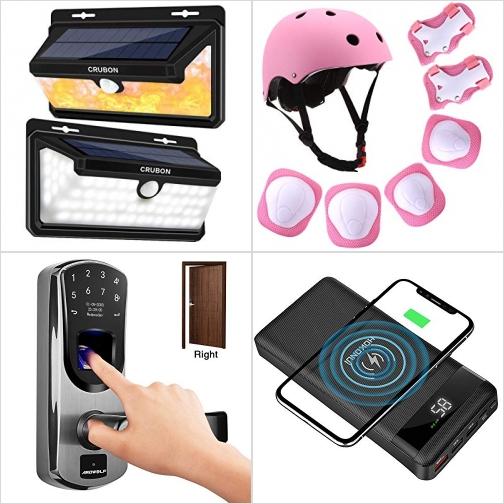 [Amazon折扣碼] 太陽能動作感應LED燈, 兒童安全頭盔, 指紋密碼鎖, 無線充電20000 mAh行動電源 額外折扣!
