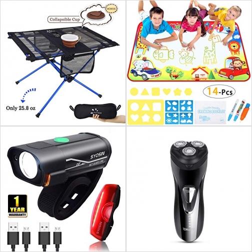 [Amazon折扣碼] 便攜露營/野餐桌, 神奇水畫墊及模板, 充電式自行車燈, 電動刮鬍刀 額外折扣!