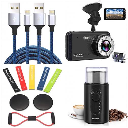 [Amazon折扣碼] iPhone充電線, 行車記錄器, 彈性運動帶, 電動研磨機 額外折扣!
