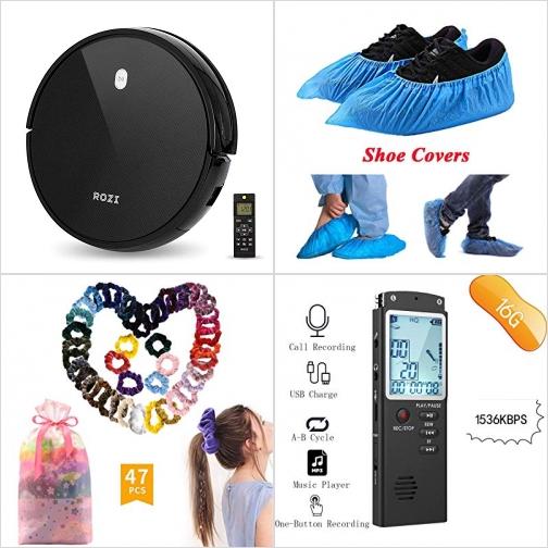 [Amazon折扣碼] 吸地機器人, 鞋套 50雙, 絨布綁髮帶, 錄音機 額外折扣!