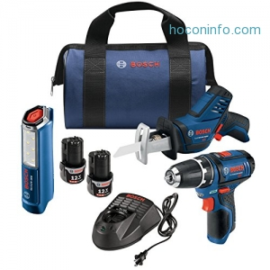 ihocon: Bosch GXL12V-310B22 12V Max 3-Tool Combo Kit with 3/8 In. Drill/Driver, Pocket Reciprocating Saw and LED Worklight
