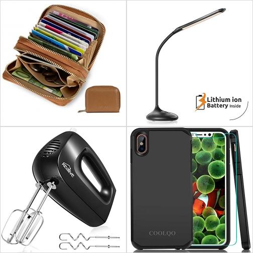 [Amazon折扣碼] FRID防盜皮夾/錢包, LED光線微調觸控充電式桌燈, 手持攪拌器, iPhone X手機套 額外折扣!