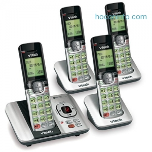 ihocon: VTech CS6529-4 DECT 6.0 Phone Answering System with Caller ID/Call Waiting, 4 Cordless Handsets, Silver/Black