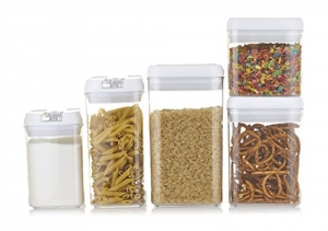 ihocon: Airtight Food Storage Containers With Lids + 16 Labels and Marker - 5-Pack 密封食品儲存罐5個 + 16個標籤和筆