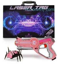 ihocon: DYNASTY TOYS Pink Laser Tag Blaster and Flipping Robot Bug