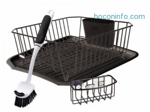 ihocon: Rubbermaid Antimicrobial Sink Dish Rack Drainer Set, Black, 4-Piece Set 瀝水碗架組
