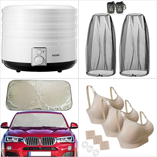 [Amazon折扣碼] 食物乾燥機, 防蜂/防蚊帽網罩, 汽車遮陽板, 哺乳內衣 額外折扣!