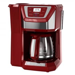 ihocon: BLACK+DECKER Mill & Brew 12-Cup Programmable Coffeemaker with Built-In Grinder, Red, CM5000RD 12杯自定程序咖啡機,內建磨豆功能