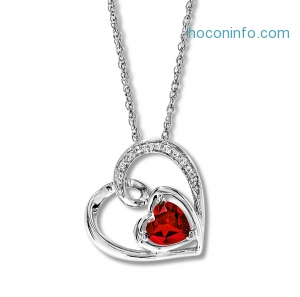 ihocon: Lab-Created Ruby Heart Necklace Sterling Silver
