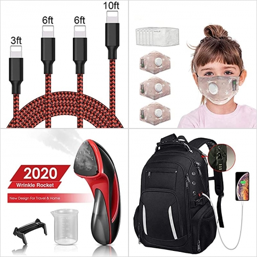 [Amazon折扣碼] iPhone充電線, 兒童口罩及濾片, 手持蒸氣熨斗, 電腦背包 額外折扣!
