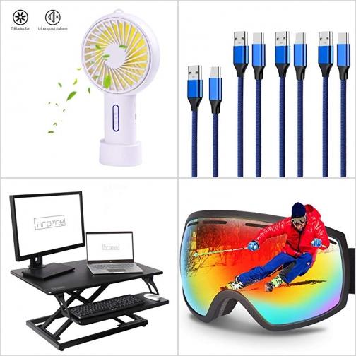 [Amazon折扣碼] 手持小風扇, USB Type C充電線, 電腦增高架, 滑雪護目鏡 額外折扣!